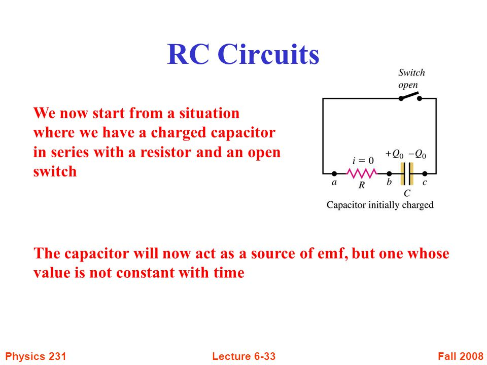 Fall 2008Physics 231Lecture 6-33 RC Circuits We now start from a situation where we have a charged capacitor in series with a resistor and an open swi