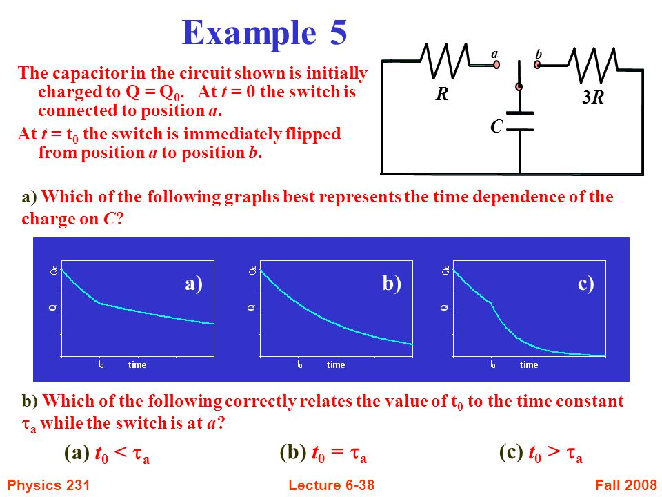 Fall 2008Physics 231Lecture 6-38 Example 5 The capacitor in the circuit shown is initially charged to Q = Q 0. At t = 0 the switch is connected to pos