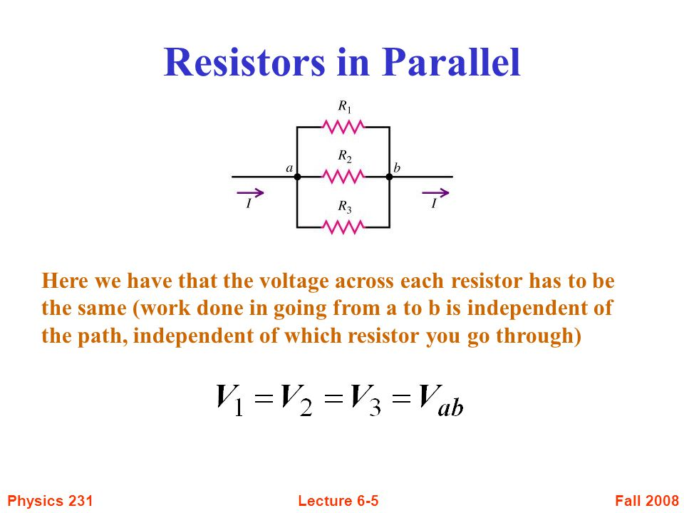 Fall 2008Physics 231Lecture 6-36 RC Circuits The current in the circuit is obtained by taking the derivative of the charge equation The quantity Q 0 / C is just the initial voltage, V o, across the capacitor But then V 0 / R is the initial current I 0 So we then have that The voltage across the resistor is given by