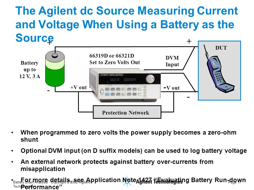 Battery Drain Analysis Copyright © 2002 Agilent Technologies Page 17 The Agilent dc Source Measuring Current and Voltage When Using a Battery as the Source When programmed to zero volts the power supply becomes a zero-ohm shunt Optional DVM input (on D suffix models) can be used to log battery voltage An external network protects against battery over-currents from misapplication For more details, see Application Note 1427 Evaluating Battery Run-down Performance Battery up to 12 V, 3 A 66319D or 66321D Set to Zero Volts Out +V out + + - V out - - DVM Input Protection Network DUT