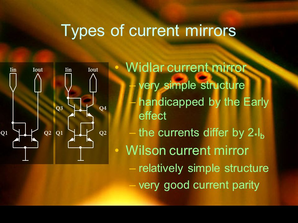 Types of current mirrors Widlar current mirror –very simple structure –handicapped by the Early effect –the currents differ by 2 * I b Wilson current mirror –relatively simple structure –very good current parity Q1 Iin Q2 Iout Q1Q2 IinIout Q3Q4
