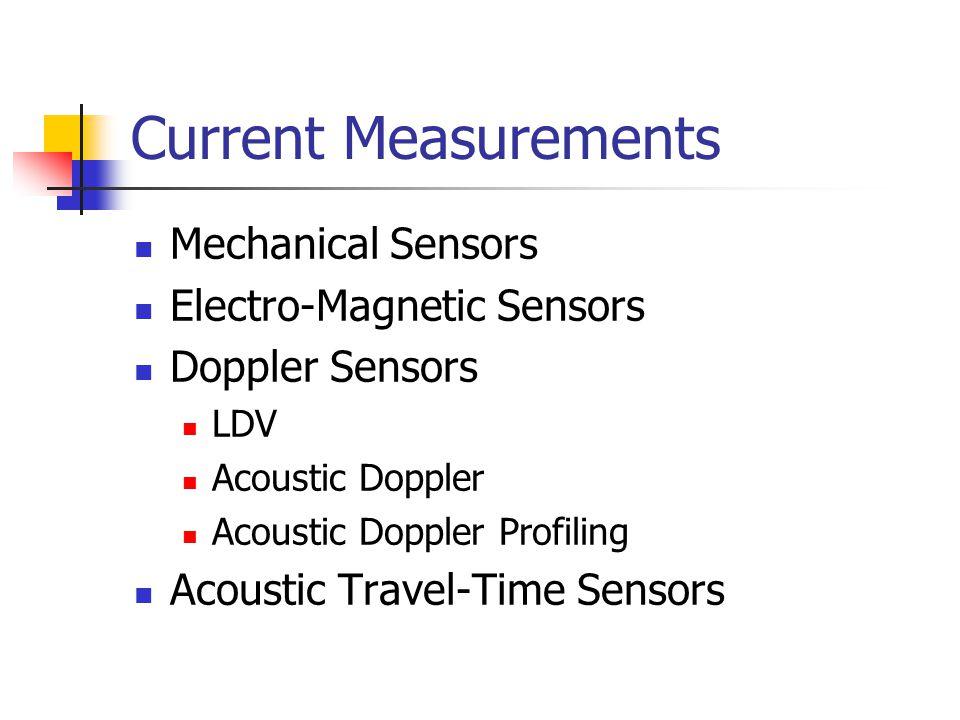 Current Measurements Mechanical Sensors Electro-Magnetic Sensors Doppler Sensors LDV Acoustic Doppler Acoustic Doppler Profiling Acoustic Travel-Time
