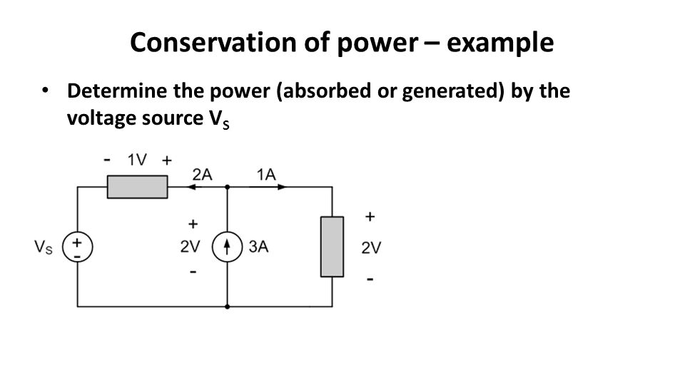 Conservation of power – example Determine the power (absorbed or generated) by the voltage source V S