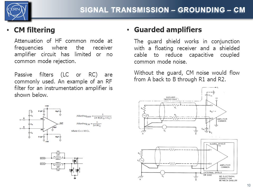 SIGNAL TRANSMISSION – GROUNDING - CM 11 Differential/balanced inputs Different types of differential input circuits can be used: Difference amplifier Instrumentation amplifier Fully differential amplifier Circuit Input impedance kΩ range – depends on gain resistors, which can't be too high to limit noise High – corresponds to the input impedance of the buffer amplifiers kΩ range – depends on the gain resistors, which can't be too high to limit noise CMR Depends on matching between gain resistor ratios .