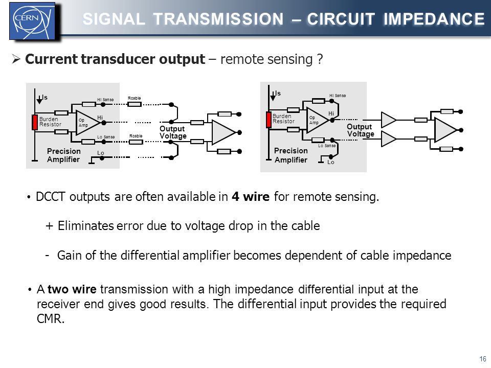  Current transducer output – remote sensing ? SIGNAL TRANSMISSION – CIRCUIT IMPEDANCE 16 DCCT outputs are often available in 4 wire for remote sensin
