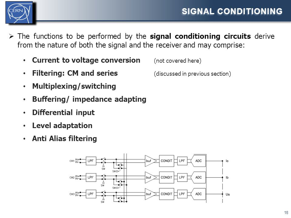  The functions to be performed by the signal conditioning circuits derive from the nature of both the signal and the receiver and may comprise: Curre