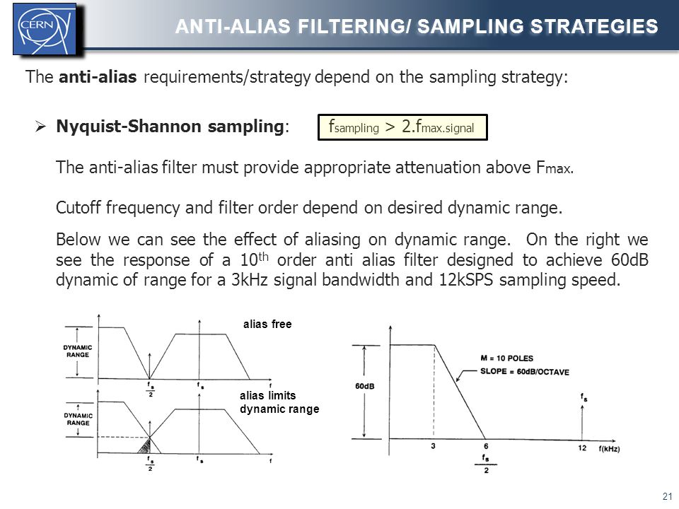 22 ANTI-ALIAS FILTERING/ SAMPLING STRATEGIES  Oversampling and decimation f sampling >>> f Nyquist Input analogue anti-alias filter significantly relaxed.