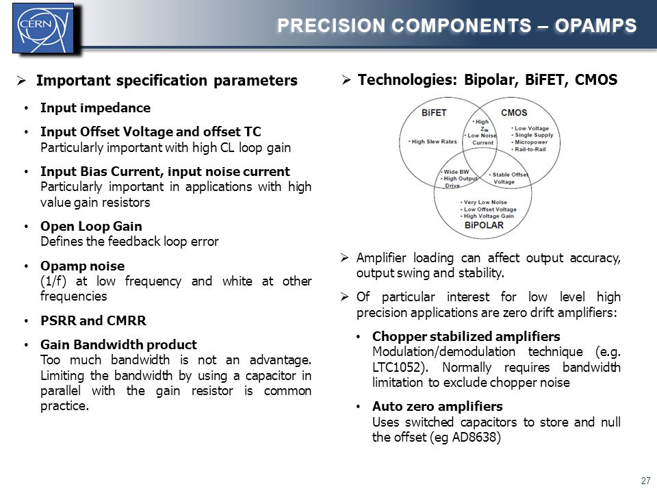 27 PRECISION COMPONENTS – OPAMPS  Amplifier loading can affect output accuracy, output swing and stability.  Of particular interest for low level hi