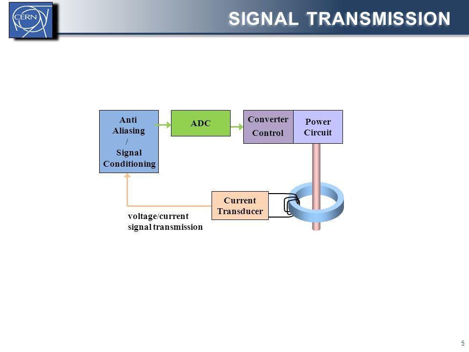voltage/current signal transmission SIGNAL TRANSMISSION 5 Converter Control Current Transducer Power Circuit ADC Anti Aliasing / Signal Conditioning