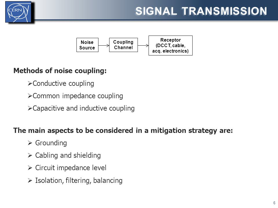 SIGNAL TRANSMISSION 6 Methods of noise coupling:  Conductive coupling  Common impedance coupling  Capacitive and inductive coupling The main aspect