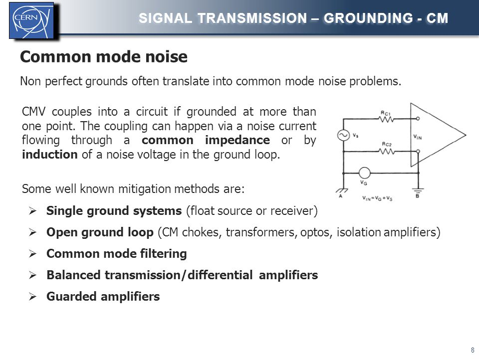 Common mode noise Non perfect grounds often translate into common mode noise problems. SIGNAL TRANSMISSION – GROUNDING - CM 8 Some well known mitigati
