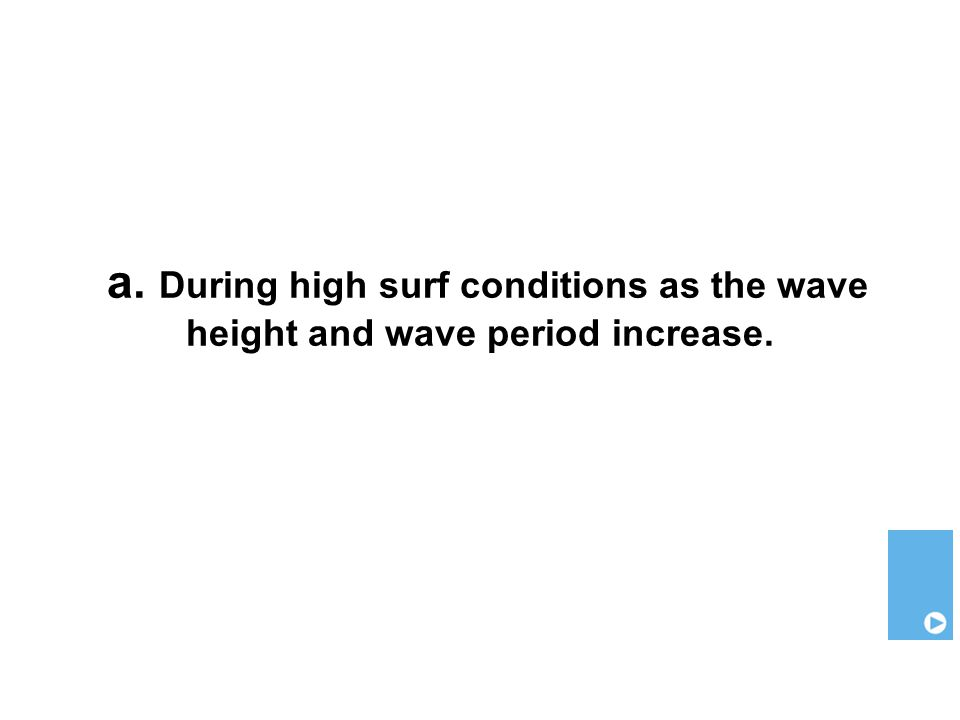 a. During high surf conditions as the wave height and wave period increase.