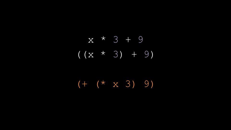 x * 3 + 9 ((x * 3) + 9) (+ (* x 3) 9)