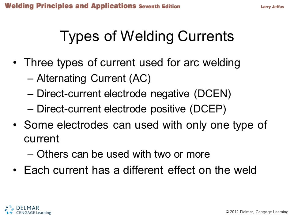 2 © 2012 Delmar, Cengage Learning Types of Welding Currents Three types of current used for arc welding –Alternating Current (AC) –Direct-current elec