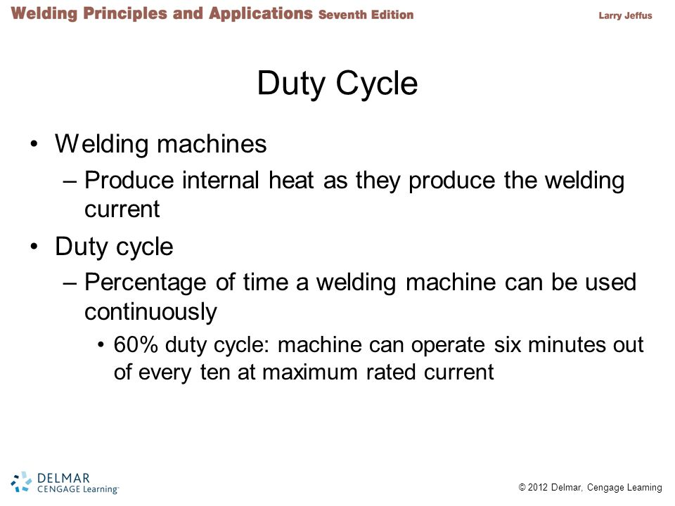 2 © 2012 Delmar, Cengage Learning Duty Cycle Welding machines –Produce internal heat as they produce the welding current Duty cycle –Percentage of tim