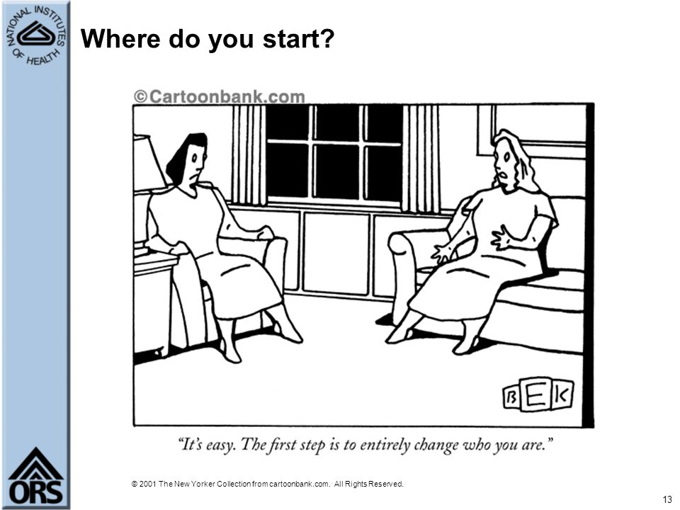 13 Where do you start? © 2001 The New Yorker Collection from cartoonbank.com. All Rights Reserved.
