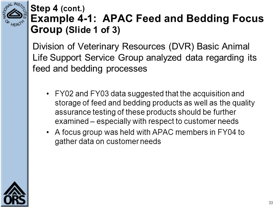 33 Step 4 (cont.) Example 4-1: APAC Feed and Bedding Focus Group (Slide 1 of 3) Division of Veterinary Resources (DVR) Basic Animal Life Support Servi