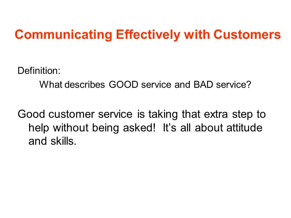 Attitude Checklist What attitudes assist in providing good service.