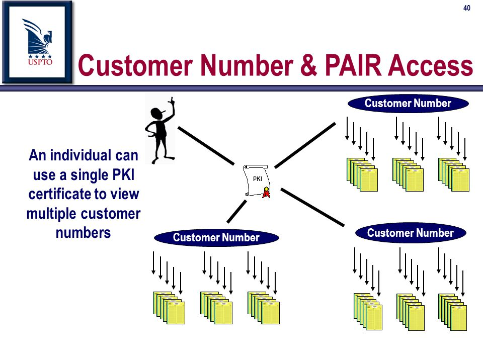 40 Customer Number & PAIR Access An individual can use a single PKI certificate to view multiple customer numbers Customer Number PKI Customer Number