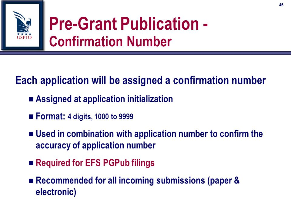 46 Pre-Grant Publication - Confirmation Number Each application will be assigned a confirmation number n Assigned at application initialization n Format: 4 digits, 1000 to 9999 n Used in combination with application number to confirm the accuracy of application number n Required for EFS PGPub filings n Recommended for all incoming submissions (paper & electronic)