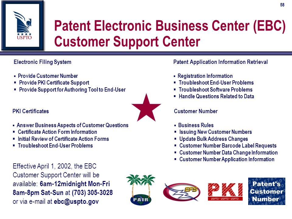 58 Patent Electronic Business Center (EBC) Customer Support Center Effective April 1, 2002, the EBC Customer Support Center will be available: 6am-12midnight Mon-Fri 8am-8pm Sat-Sun at (703) 305-3028 or via e-mail at ebc@uspto.gov Customer Number  Business Rules  Issuing New Customer Numbers  Update Bulk Address Changes  Customer Number Barcode Label Requests  Customer Number Data Change Information  Customer Number Application Information PKI Certificates  Answer Business Aspects of Customer Questions  Certificate Action Form Information  Initial Review of Certificate Action Forms  Troubleshoot End-User Problems Electronic Filing System  Provide Customer Number  Provide PKI Certificate Support  Provide Support for Authoring Tool to End-User Patent Application Information Retrieval  Registration Information  Troubleshoot End-User Problems  Troubleshoot Software Problems  Handle Questions Related to Data