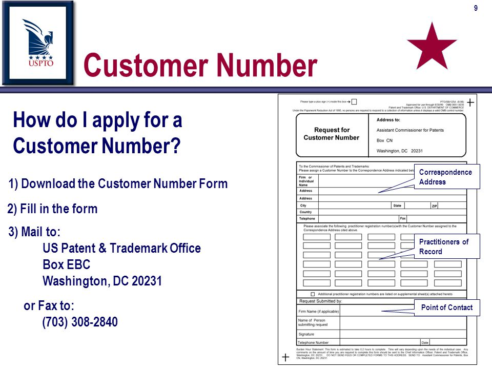 10 Customer Number Barcode Labels n Initial supply of labels are issued to customers when the Customer Number is created n Labels should be used on correspondence with the USPTO in place of physical address or when listing practitioners of record (see previous slide) n An electronic version of the labels is available via request to the EBC to use with electronic forms n If you have inserted this into an electronic copy, fax or email a copy for us to verify that the barcode will scan properly n Contact the EBC Customer Support Center at (703) 305-3028; fax (703) 308-2840