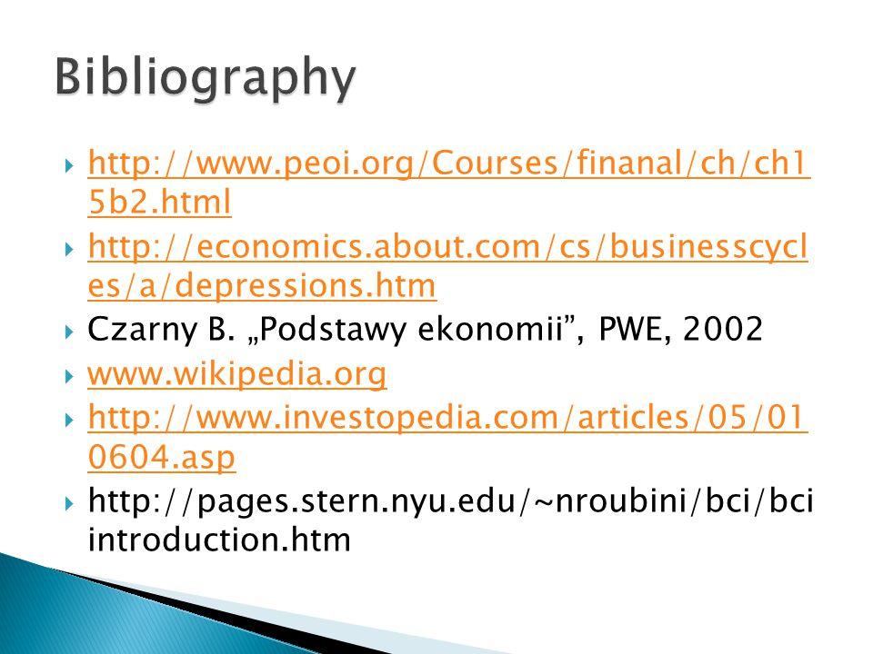  http://www.peoi.org/Courses/finanal/ch/ch1 5b2.html http://www.peoi.org/Courses/finanal/ch/ch1 5b2.html  http://economics.about.com/cs/businesscycl es/a/depressions.htm http://economics.about.com/cs/businesscycl es/a/depressions.htm  Czarny B.
