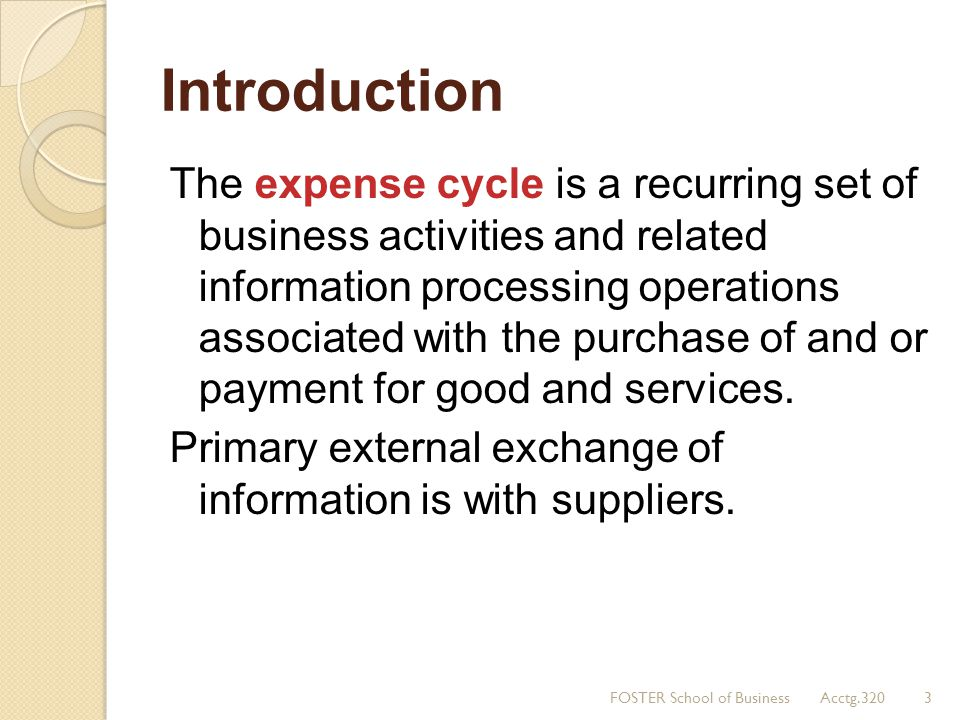 Introduction The expense cycle is a recurring set of business activities and related information processing operations associated with the purchase of
