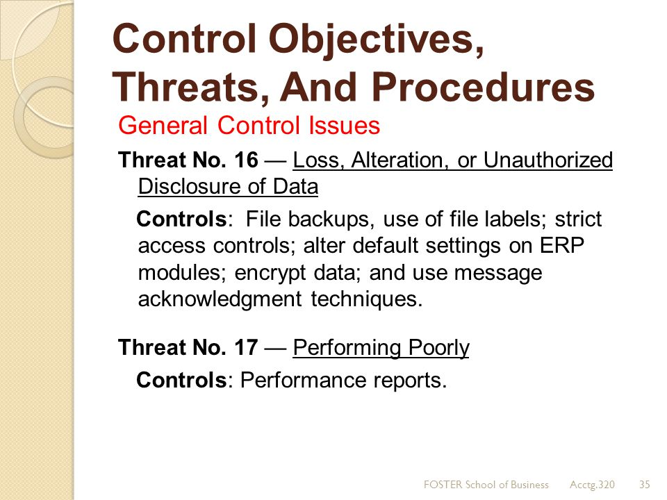 Control Objectives, Threats, And Procedures General Control Issues Threat No. 16 — Loss, Alteration, or Unauthorized Disclosure of Data Controls: File