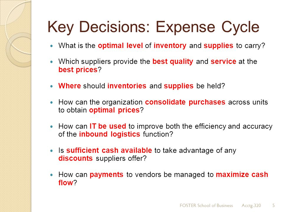 Key Decisions: Expense Cycle What is the optimal level of inventory and supplies to carry? Which suppliers provide the best quality and service at the