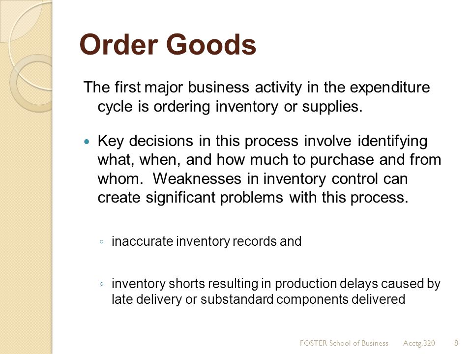 Order Goods The first major business activity in the expenditure cycle is ordering inventory or supplies. Key decisions in this process involve identi