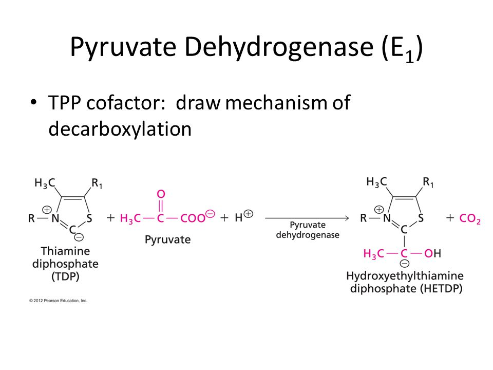 Pyruvate Dehydrogenase (E 1 ) TPP cofactor: draw mechanism of decarboxylation