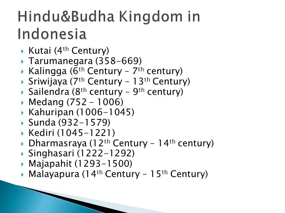  Kutai (4 th Century)  Tarumanegara (358-669)  Kalingga (6 th Century – 7 th century)  Sriwijaya (7 th Century – 13 th Century)  Sailendra (8 th