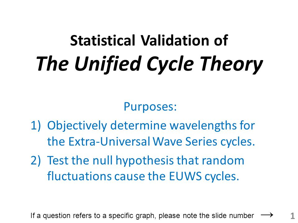 Statistical Validation of The Unified Cycle Theory Purposes: 1)Objectively determine wavelengths for the Extra-Universal Wave Series cycles.