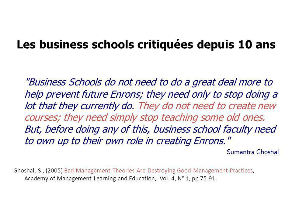 Les business schools critiquées depuis 10 ans Business Schools do not need to do a great deal more to help prevent future Enrons; they need only to stop doing a lot that they currently do.