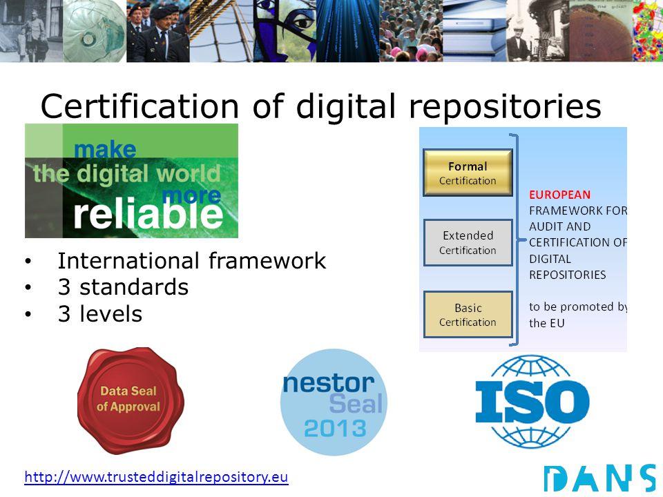 Certification of digital repositories International framework 3 standards 3 levels http://www.trusteddigitalrepository.eu