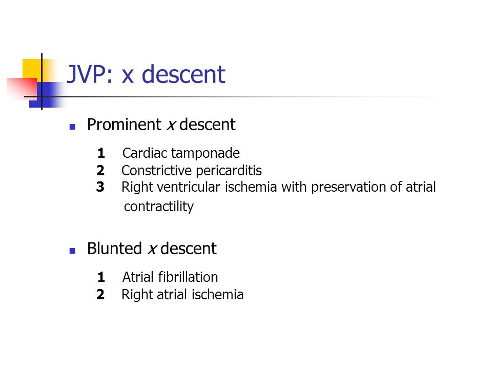 JVP: x descent Prominent x descent 1 Cardiac tamponade 2 Constrictive pericarditis 3 Right ventricular ischemia with preservation of atrial contractil