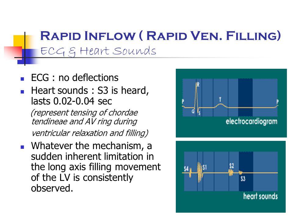 Rapid Inflow ( Rapid Ven. Filling) ECG & Heart Sounds ECG : no deflections Heart sounds : S3 is heard, lasts 0.02-0.04 sec (represent tensing of chord