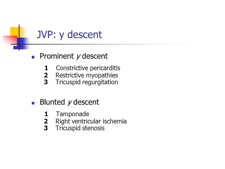 JVP: y descent Prominent y descent 1 Constrictive pericarditis 2 Restrictive myopathies 3 Tricuspid regurgitation Blunted y descent 1 Tamponade 2 Righ