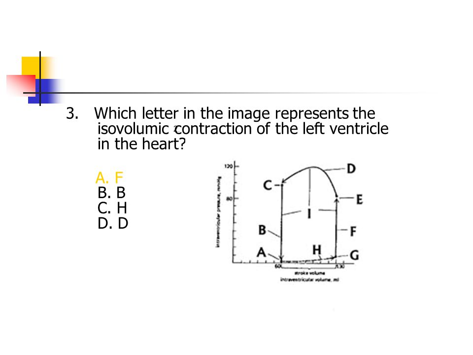 3. Which letter in the image represents the isovolumic contraction of the left ventricle in the heart? A. F B. B C. H D. D 2.