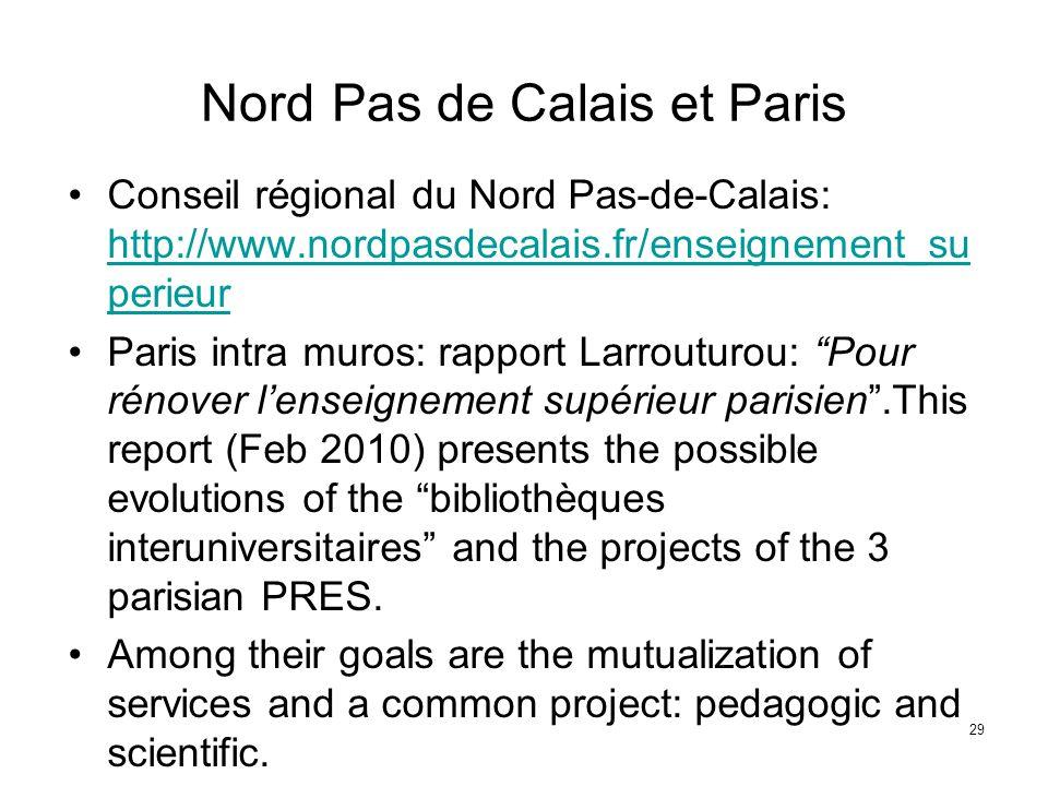 Nord Pas de Calais et Paris Conseil régional du Nord Pas-de-Calais: http://www.nordpasdecalais.fr/enseignement_su perieur http://www.nordpasdecalais.f