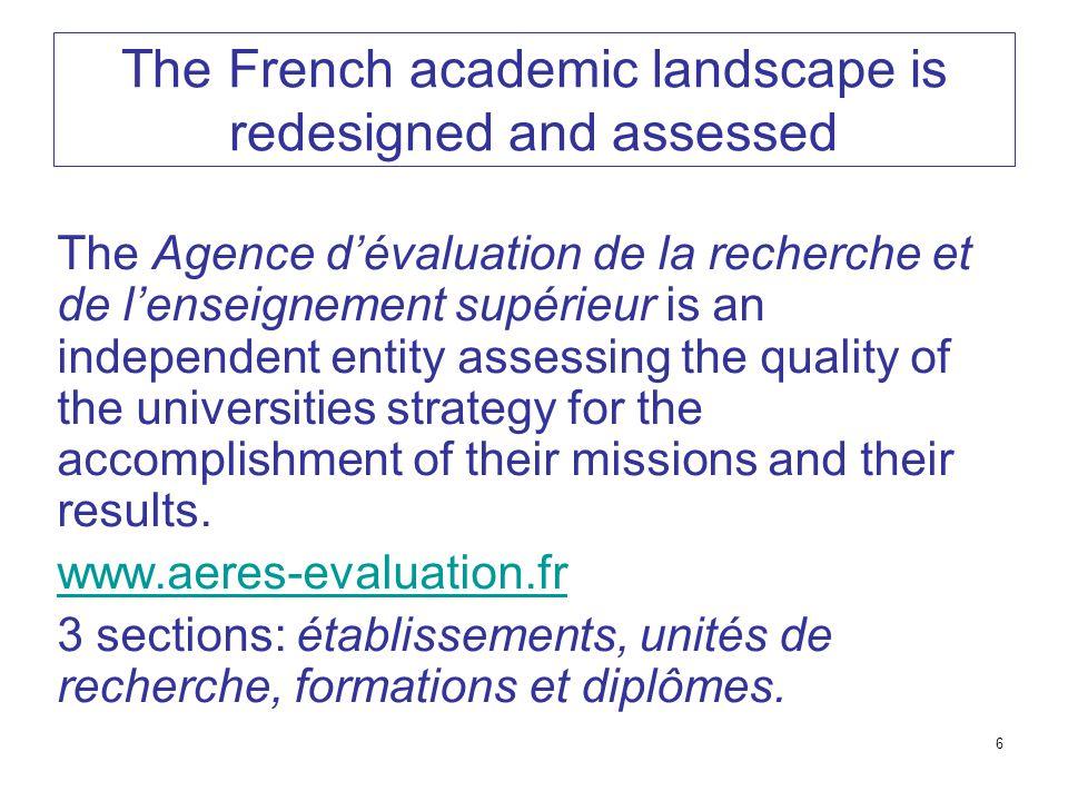 6 The French academic landscape is redesigned and assessed The Agence d'évaluation de la recherche et de l'enseignement supérieur is an independent en