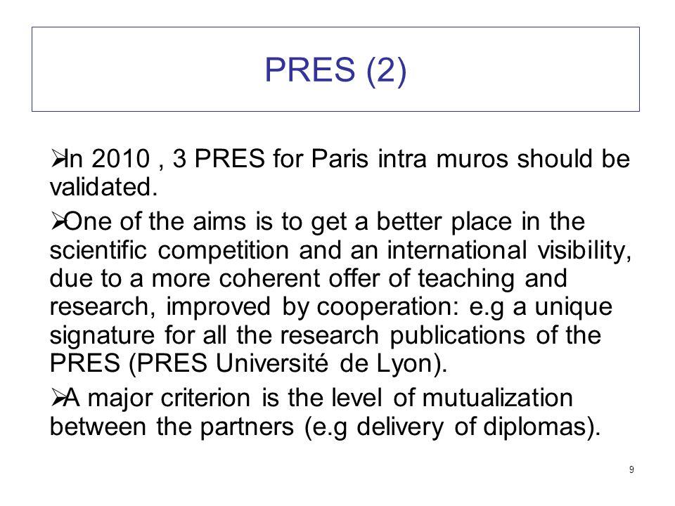 9 PRES (2)  In 2010, 3 PRES for Paris intra muros should be validated.