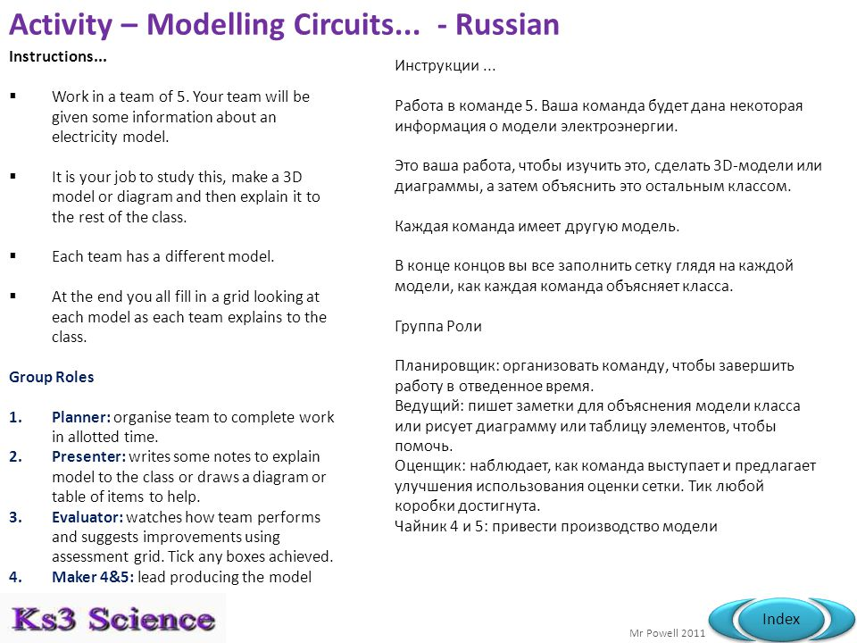 Mr Powell 2011 Index Activity – Modelling Circuits... - Russian Instructions...  Work in a team of 5. Your team will be given some information about