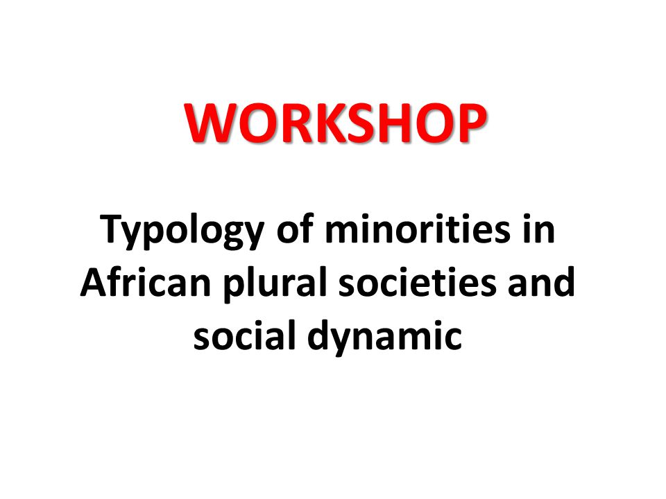 Typology of minorities in African plural societies and social dynamic WORKSHOP