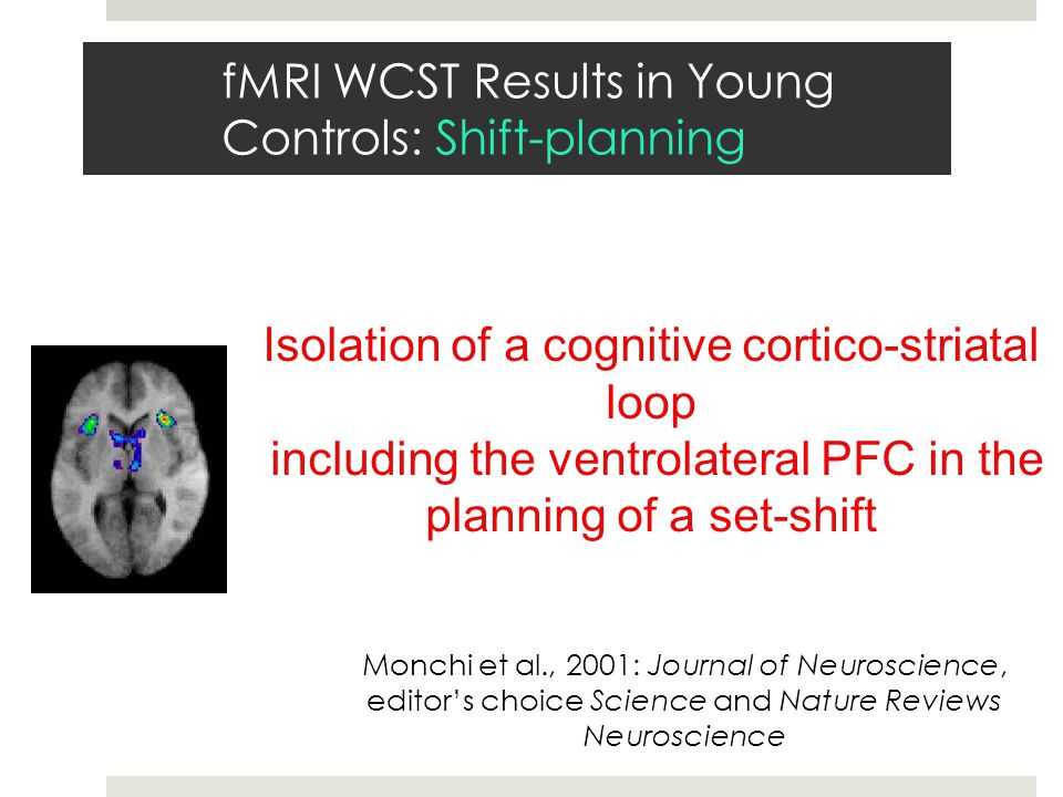 Isolation of a cognitive cortico-striatal loop including the ventrolateral PFC in the planning of a set-shift Monchi et al., 2001: Journal of Neuroscience, editor's choice Science and Nature Reviews Neuroscience fMRI WCST Results in Young Controls: Shift-planning