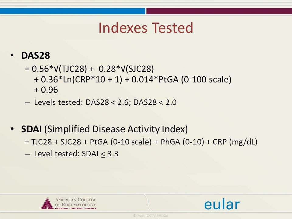 Indexes Tested DAS28 = 0.56*√(TJC28) *√(SJC28) *Ln(CRP*10 + 1) *PtGA (0-100 scale) – Levels tested: DAS28 < 2.6; DAS28 < 2.0 SDAI (Simplified Disease Activity Index) = TJC28 + SJC28 + PtGA (0-10 scale) + PhGA (0-10) + CRP (mg/dL) – Level tested: SDAI < 3.3