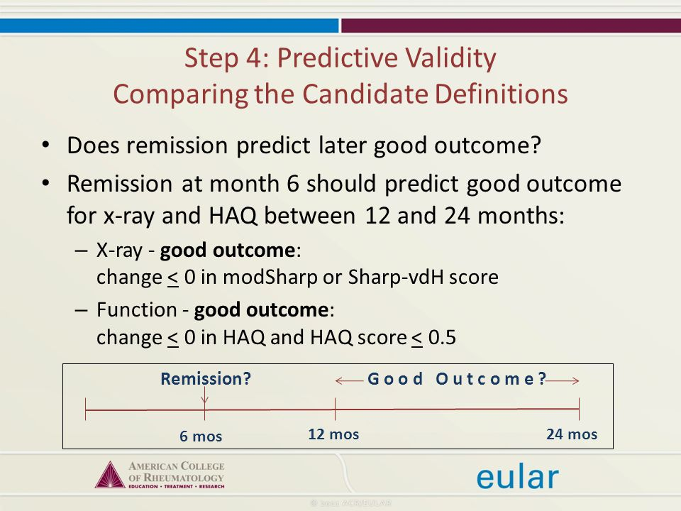Step 4: Predictive Validity Comparing the Candidate Definitions Does remission predict later good outcome.