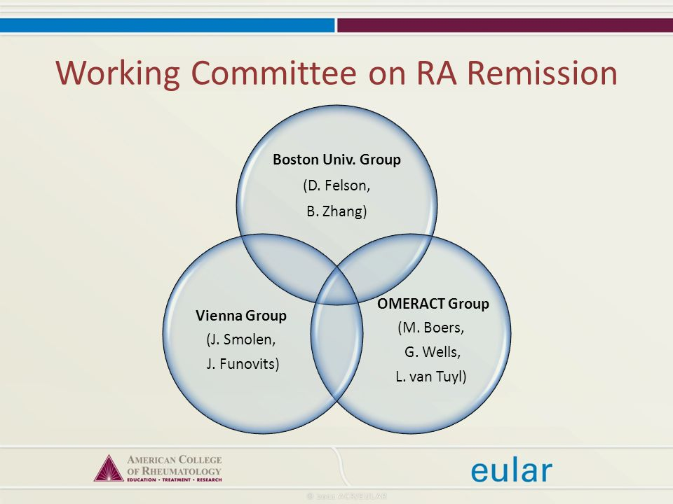 Working Committee on RA Remission Boston Univ. Group (D.