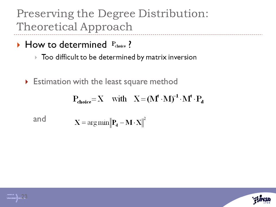 Preserving the Degree Distribution: Theoretical Approach 23  How to determined ?  Too difficult to be determined by matrix inversion  Estimation wi